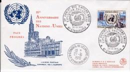 FRANCE ONU UNO PREMIER JOUR FDC 25ème Anniversaire Des Nations Unies STRASBOURG Conseil De L'Europe - 1970-1979