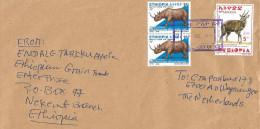 Ethiopia 2013 Nekemt Postal Agency Rhino Bushbuck Cover - Ethiopië