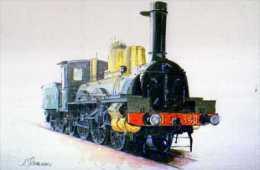 Locomotive Forquenot P.O 1882 Aquarelle De Lucien Joveneaux Relisee Pour Le Musee Francais Du Chemin De Fer Mulhouse - Treni
