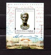 POLOGNE - B.F. 144 Adam Mickiewicz - Blocks & Sheetlets & Panes