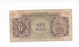 Billet De Banque Anglais  -   Six Pence British Military Authority - Emissions Militaires
