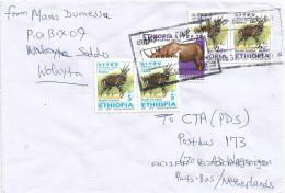 Ethiopia 2012 Woliaita Soddo Postal Agency Rhino Bushbuck Cover - Ethiopië