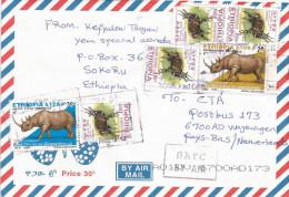 Ethiopia 2012 Sokoru Postal Agency Rhino Bushbuck Cover - Ethiopië