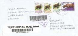 Ethiopia 2008 Addis Ababa Rhino Bushbuck Barcoded Registered Express Cover - Ethiopië