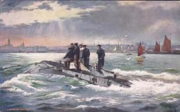 Artist Drawn H.M. Submarine No. 1 Postcard (S11742) - Sous-marins