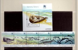 POLOGNE  N° 3490 / 5 + BF 142    - - Faune Marine - Unused Stamps