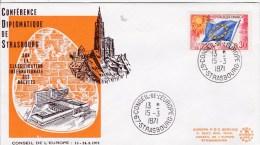 FRANCE PREMIER JOUR FDC  Conseil De L´Europe 1971 STRASBOURG Conférence Diplomatique  Brevets - 1970-1979