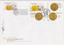 NOBELPREIS PRIX NOBEL PRIZE 100 YEARS - MEDALS PHYSICS CHEMISTRY LITERATURE MEDICIN - SWEDEN USA 2001 FDC Slania - Nobelpreisträger