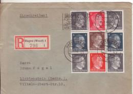 8-Germania Reich-Busta Raccomandata Affrancata 1p.(x4)+4p(x2)+8p.+10p.+12p. Hitler-Nazismov-01.08.1944-arrivo 06.08.1944 - Briefe U. Dokumente