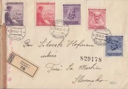 Böhmen Und Mähren R-Brief Mif Minr.114-116, 126,127 Nachod 28.4.43 Gel. Slowakei Zensur - Böhmen Und Mähren