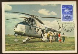 CARTE MAXIMUM CM Card USSR RUSSIA Civil Aviation Helicopter  MI-4 Overprint - Cartes Maximum