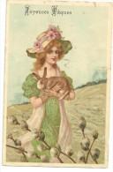 CPA Jeune Femme, Chapeau Fleuri, Lapin Dans Ses Bras, Bourgeon De Printemps, Série 373 - Pâques