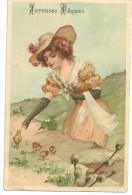CPA Jeune Femme, Chapeau Fleuri, Petits Poussins, Bourgeon De Printemps, Série 373 - Ostern