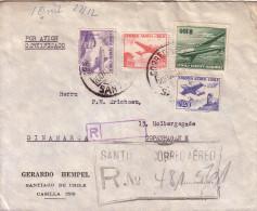 CHILI - BEL AFFRANCHISSEMENT RECOMMANDE DE SANTIAGO POUR LE DANEMARK - PAD DE CACHET EN ARRIVEE - Chili