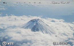 Télécarte Japon / NTT 250-448 - Volcan MONT FUJI Dans La Brume - Mountain Japan Phonecard / B - Berg TK - Montagnes