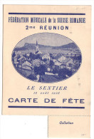 Le Sentier, Carte De Fête Et Programme, Fédération Musicale De Suisse Romande 12.8.1928 - Programmes