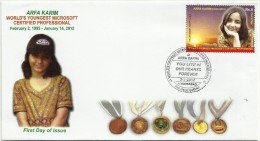 PAKISTAN MNH 2012 FDC FIRST DAY COVER WORLD´S YOUNGEST MICROSOFT CERTIFIED PROFESSIONAL ARFA KARIM 1995-2012 - Pakistan