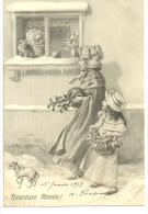 CPA  Illustration H.Schubert, Femme, Petite Fille, Chien En Laisse,neige, Grand-mère, Chat, Houx, M.M.Vienne,1913 - Schubert
