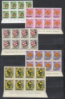 Rhodesia Mi 141 + 146 + 148 + 149 + 151 Flowers Butterfly In Blocks Of 8 1974 MNH   (**) - Grande-Bretagne (ex-colonies & Protectorats)