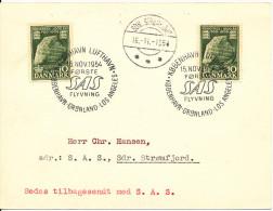Denmark Card First SAS Flight Copenhagen Greenland - Los Angeles 15-11-1954 With Sdr. Strömfjord Postmark 16-11-1954 - Denmark
