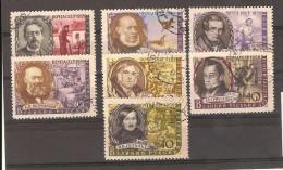 Russie  URSS 1959 / Série Complete Oblitérée Grands Ecrivains II YT 2156/2161A  Sans  Le Présentoir - 1923-1991 URSS