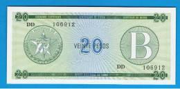 CUBA -  20 Pesos  ND  SC   B - FX9  Serie DD - Cuba