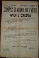 1892 MUNICIPIO DI ALBORETO D'ADIGE  MANIFESTO (40X50) CONCORSO A MEDICO CHIRURGO OSTETRICO STIPENDIO L.2600 ANNUE... - Affiches