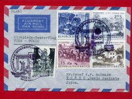 AUTRICHE 1964 OLYMPIADE SONDERFLUG WIEN TOKIO PAR AVION ENVELOPPE EN TRES BON ETAT - AUA-Erstflüge