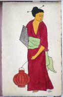 Dessin Artisanal ? Litho Signé Lilou ? Silou ? Art Nouveau Couleur Japon Femme Geisha Et Lanterne Japonaise Kimono - Autres Illustrateurs
