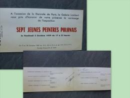 Ludmila Murawska, Peintre Polonaise, Autographe Sur Invitation Galerie Lambert 1959 ; Ref 831 - Autographes