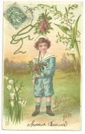 CPA Gaufrée, Dorée, Jeune Garçon Costume Marin, Portant Bâton Pour La Rosière (fête Du Mai), Muguet, 1902, M.S.I.B 13525 - Scènes & Paysages