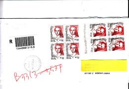 """ITALIA 2004 - Raccomandata  Serie Della  """"donne Nell´arte"""" 2 Quartine Differenti (con E Senza """"SpA"""") - 6. 1946-.. Republik"""