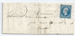 N° 14 BLEU NAPOLEON SUR LETTRE MACHECOUL LOIRE INFERIEURE POUR NANTES / 20 AVRIL 1859 - 1849-1876: Période Classique