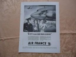 Pub De 1949 - Aviation - AIR FRANCE - - Pubblicitari