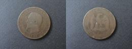 1855 K ANCRE - 10 CENTIMES NAPOLEON III TETE NUE - FRANCE - D. 10 Céntimos