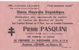 NICE  1958  GAULLISME  PIERRE PASQUINI  DE GAULLE - Publicités