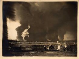 Rouen / Petit Couronne Rare Photo 18x24 Incendie De La Raffinerie Datée Du 9 Juin 1940 TBE - Rouen