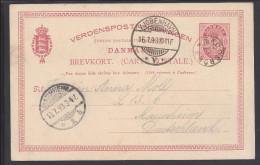 DANEMARK - 1893 -  CARTE ENTIER POSTAL ILLUSTRE DE KJOBENHAVN POUR MANNHEIM - ALL - - Entiers Postaux