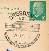 STOMATOLOGEN-KONGRESS DRESDEN 1970 Auf  DDR P77 Antwort-Postkarte ZUDRUCK Böttner #4 - Medicine