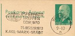 ESPERANTO-TREFFEN KARL-MARX-STADT 1970 Auf DDR P77 Antwort-Postkarte ZUDRUCK Böttner #4 - Esperanto