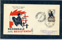 FDC VENETIA 1954 DECENNALE DELLA RESISTENZA - 6. 1946-.. Repubblica