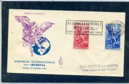 FDC VENETIA 1954 INTERPOL - 6. 1946-.. Repubblica