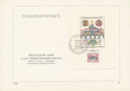 Czechoslovakia / First Day Sheet (1968/18) Praha (2): Stamps Exhibition Praga 1968 - The City Of Prague (Alphonse Mucha) - Timbres Sur Timbres