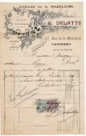 Facture à En-tête Publicitaire Garage De La Madeleine Delatte Location D´automobiles Ecuries Thorigny 1921 Timbre - France