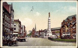 Cp New London Connecticut USA, State Street, Straßenansicht, Säule - Other