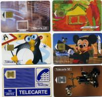 Lot 6 Télécartes Utilisées Dont 1  Les Espaces Du Musee  100000 Ex  Pyjama Impact Verso Bas Droite (lot 8) - Télécartes