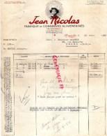 29 - ROSPORDEN  - FACTURE FABRIQUE CONSERVES ALIMENTAIRES- ETS JEAN NICOLAS & FILS- 1952  CONSERVERIE - France