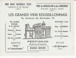BUVARD PUBLICITAIRE PETIT FORMAT LES GRANDS VINS ROUSSILLONNAIS 72 AV DE BOMPAS PERPIGNAN - Liquor & Beer