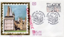 28 - CHATEAU DE MAINTENON- 7-6-1980  TIMBRE SUR SOIE - FDC