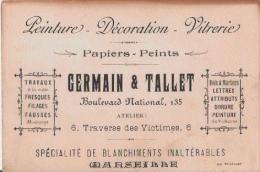 CARTE DE VISITE ANCIENNE  ETS GERMAIN ET TALLET BD NATIONAL 135 MARSEILLE  PAPIERS PEINTS - Visiting Cards